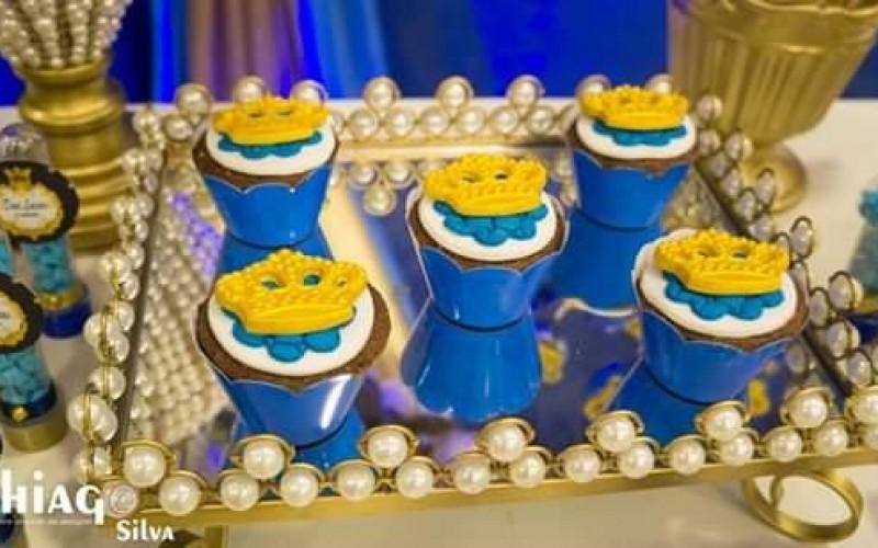 Realeza Coroa Azul e Dourado - Foto 6