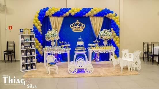 Realeza Coroa Azul e Dourado